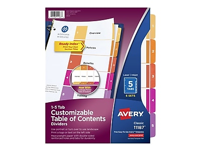 Avery Classic Customizable Table of Contents 5 Tab Dividers, White, 6/Pack (11187)