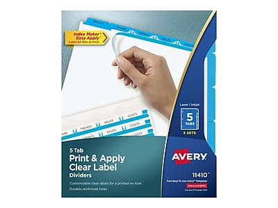 Avery Index Maker Print & Apply Label Paper Dividers, 5-Tab, Blue, 5 Sets/Pack (11410)