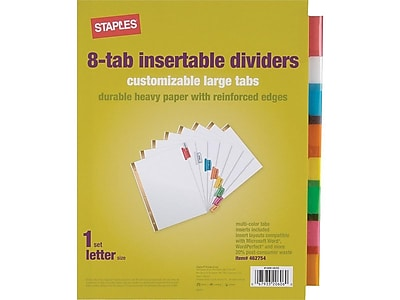 Staples Big Tab Insertable Paper Dividers, 8-Tab, Multicolor (13492/11123)