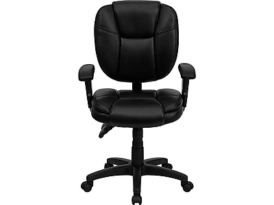 Flash Furniture Leather/Faux Leather Task Chair, Black (GO-930F-BK-LEA-ARMS-GG)