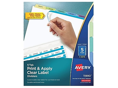 Avery Index Maker Print & Apply Label Paper Dividers, 5-Tab, Pastel Multicolor, 5 Sets/Pack (11990)