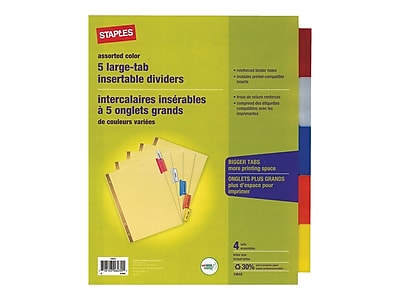 Staples Big Tab Insertable Paper Dividers, 5-Tab, Buff, 4 Sets/Pack (13515/14481)