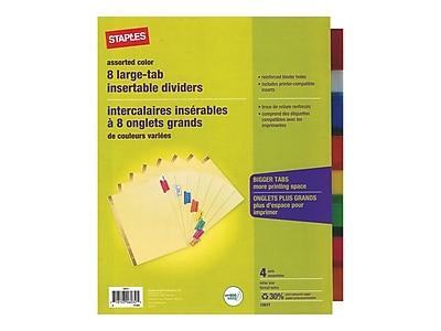 Staples Big Tab Blank Paper Dividers, 8-Tab, Multicolor, 4/Pack (13517/14483)
