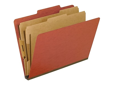 Oxford Six-Section Colored PressGuard Classification Folders, Letter Size, Red, 10/Box