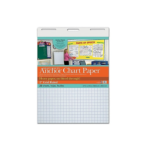 "Pacon 27""W x 34""H Graph Writing Paper, White, 25 Sheets/Pad (3372)"