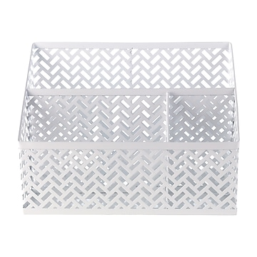 Staples 3 Compartment Metal Desk Organizer, White Zigzag (26850)