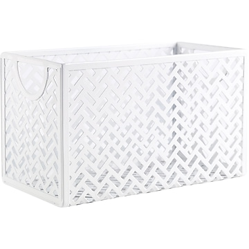 Staples 1 Compartment Metal Storage Box, White (26845)