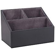 Staples Faux Leather Compartment Storage, Black (45046)