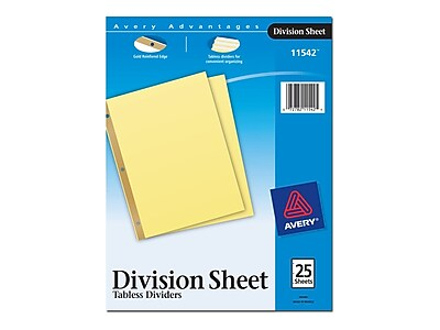 Avery Division Divider Paper 25 Tab Dividers, Buff, 25/Pack (11542)