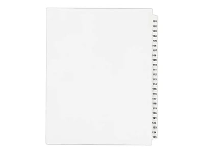 Avery(R) Standard Collated Legal Dividers Avery Style 1334, Letter Size, 101-125 Tab Set