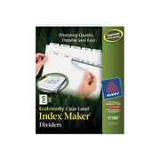 Avery Print & Apply Clear Label EcoFriendly Dividers, Index Maker Easy Apply Printable Label Strip, 5 White Tabs, 5 Sets (11580)