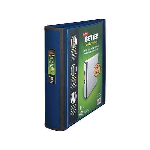 staples better 1 5 inch 3 ring view binder blue 13400 staples