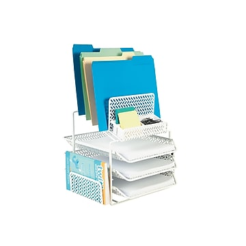 Staples All-in-One 10 Compartment Steel Compartment Storage, White Zigzag (29482)
