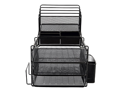 staples all in one black wire mesh desk organizer staples rh staples com staples desk organizer trays staples desk organizer mesh