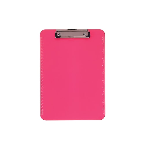 """Staples® Plastic Recycled Clipboard, Letter Size, Pink, 9"""" x 12 1/2"""""""