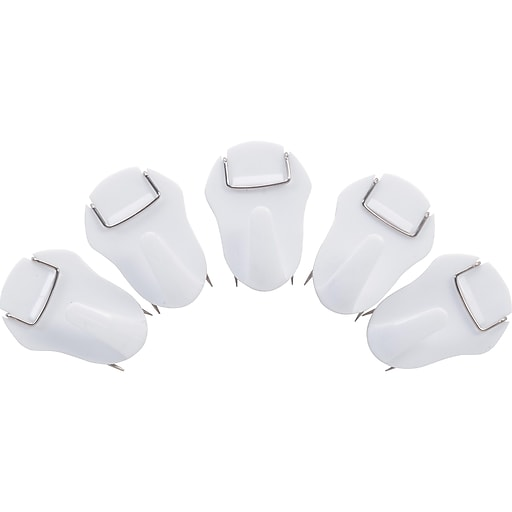 Staples Cubicle Hook, White, 5/Pack (44437)