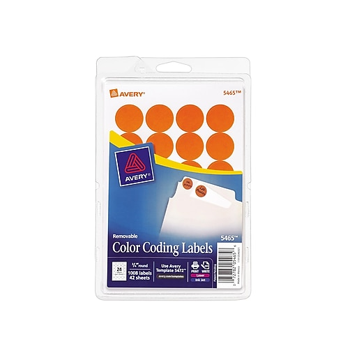 Avery 5465 Round 34 Diameter Print Write Color Coding Labels