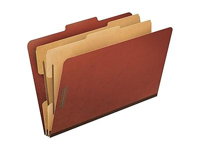 Pendaflex PressGuard Paperboard Classification Folders, Legal Size, 2 Dividers, Brick Red, 10/Box (PFX2257R)