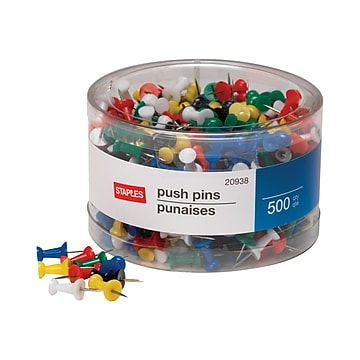 Staples Push Pins, Assorted, 500/Pack (20938)