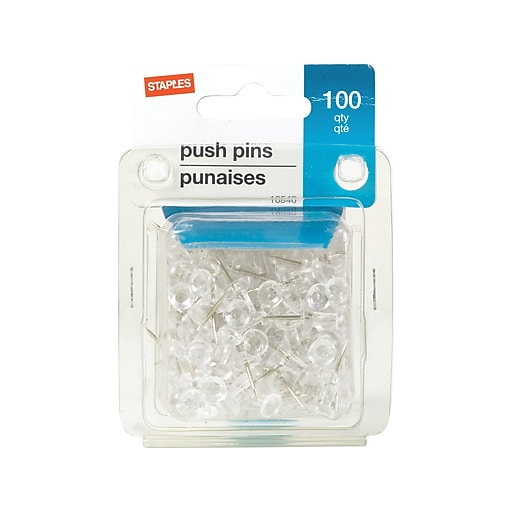 151eff9d4446 Staples® Push Pins, Clear, 100/Pack | Staples