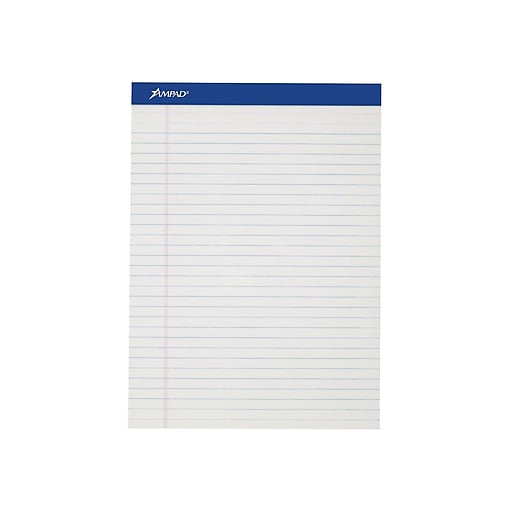 """Ampad Notepads, 8.5"""" x 11"""", Wide, White, 50 Sheets/Pad, 12 Pads/Pack (TOP20-320)"""