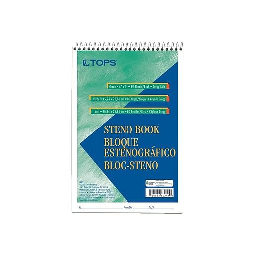 """TOPS Steno Pad, 6"""" x 9"""", Gregg, Green Tint, 80 Sheets/Pad (TOP8021)"""