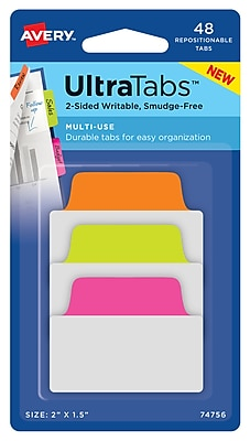 """Avery® Multiuse Ultra Tabs™, Neon, 2"""" x 1-1/2"""", Pack of 48 Repositionable, Two-Sided Writable Tabs (74756)"""