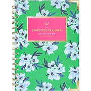 """2019-2020 AT-A-GLANCE 5 3/8"""" x 8 1/2"""" Simplified Academic Weekly/Monthly Hardcover Planner, Green Floral (EL202-200A-20)"""