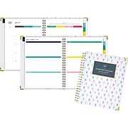 """2019-2020 AT-A-GLANCE 8 3/8"""" x 11"""" Simplified Academic Weekly/Monthly Hardcover Planner, Colorful Buds (EL200-905A-20)"""