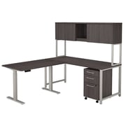 Bush Business Furniture 400 Series 72W L Shaped Desk with Height Adjustable Return, Hutch and Storage, Storm Gray (400S225SG)