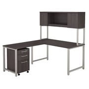 Bush Business Furniture 400 Series 60W x 30D L Desk w Hutch, 42W Return and 3 Drawer Mobile File Cabinet, Storm Gray, Installed