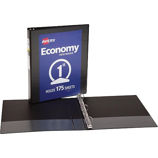 avery 1 economy view binder with round rings black 5710 staples