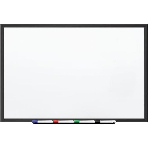 Staples Standard Durable Magnetic Steel Dry-Erase Whiteboard, Steel Black Frame, 5' x 3' (28693-CC)