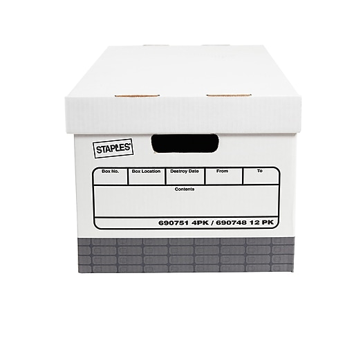 Staples Recycled Corrugated Boxes, Medium-Duty, Letter Size, White/Gray,  12/Carton (2489401)