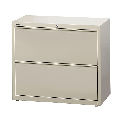 Staples Commercial 2 File Drawers Lateral File Cabinet Locking Putty Beige Letter Legal 36 W 20052d At Staples