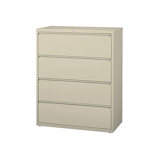 Staples Commercial 4 File Drawers Lateral Cabinet Locking Putty Beige Letter Legal 42 13 W 20062d