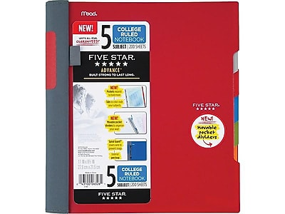 Mead Five Star Advance 5 Subject Notebook, 8.5