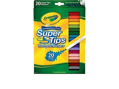 Crayola Super Tips Washable Markers, Fine, Assorted, 20/Pack (58-8106)