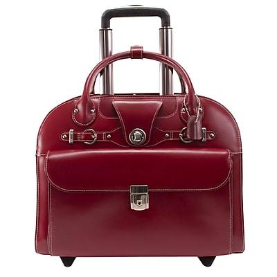 McKlein Edgebrook, Wheeled Ladies' Laptop Briefcase, Top Grain Cowhide Leather, Red (96316)