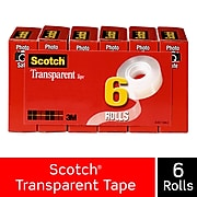"""Scotch® Transparent Tape, Crystal Clear Clarity Finish, Glossy, 3/4"""" x 27.77 yds., 6 Rolls (600K6)"""