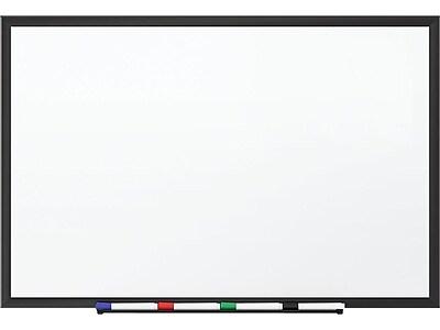 Staples Standard Melamine Whiteboard, Black Aluminum Frame, 1.5'W x 2'H