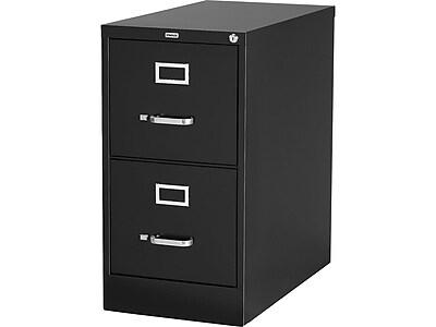Staples 2-Drawer Vertical File Cabinet, Locking, Letter, Black, 25