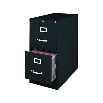 """Staples 2-Drawer Vertical File Cabinet, Locking, Letter, Black, 25""""D (25157D)"""