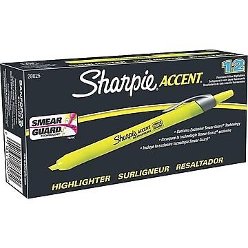 Sharpie Accent Retractable Highlighter, Chisel Tip, Fluorescent Yellow, Dozen (28025)