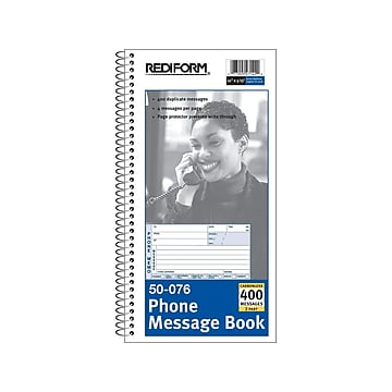 """Rediform Phone Message Pad, 3"""" x 5"""", Unruled, White/Blue, 100 Sheets/Pad (50076)"""