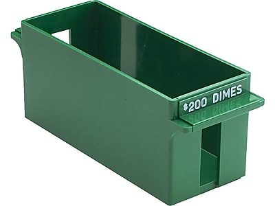 MMF Industries Porta-Count Extra-Capacity Rolled Dime Storage Tray, Green (212071002)