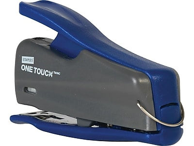 Staples One-Touch Mini Stapler, Quarter-Strip Capacity, Gray/Blue (44427-CC)