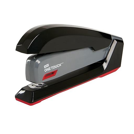 Staples One-Touch Desktop Stapler, Full-Strip Capacity, Gray/Black/Red (44425)
