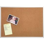Staples Durable Cork Bulletin Board, Silver Frame, 4'W x 3'H (43798)