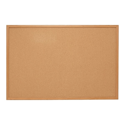 Staples Standard Durable Cork Bulletin Board, Oak Frame, 6'W x 4'H (28319-CC)